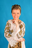 Romanian folklore clothes traditional on blue azzure background. Lovely royalty free stock photography