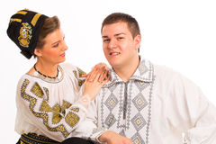 Romanian folklore clothes traditional couple Royalty Free Stock Images
