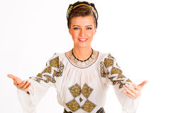 Romanian folklore clothes traditional. Lovely woman royalty free stock images