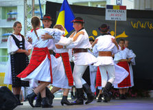 Romanian folklore group performance Stock Photos