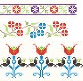 Romanian folks sewing. Embroidered good like handmade cross-stitch folks Romanian pattern Vector Illustration
