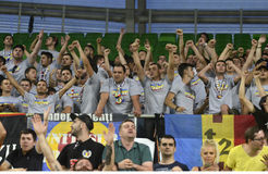 Romanian football fans Royalty Free Stock Photos