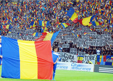 Romanian football fans in Romania-Hungary Royalty Free Stock Photography