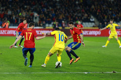 Romanian football player Nicolae Stanciu in action against Spain Royalty Free Stock Photography