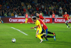 Romanian football player Nicolae Stanciu in action against Spain Stock Photography