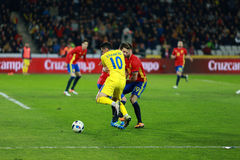 Romanian football player Nicolae Stanciu in action against Spain Royalty Free Stock Photos