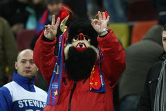 Romanian football team supporter. Romanian football team, Fc Steaua , supporter when the score was 2-0 for his team Royalty Free Stock Photo