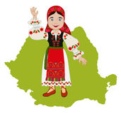 Romanian girl  on a background map. Romanian girl in traditional national dress on a background map Stock Images