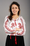 Romanian girl in traditional costume Royalty Free Stock Images