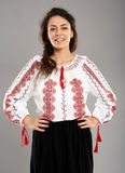 Romanian girl in traditional costume Stock Photography
