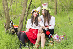Romanian girls wearing traditional clothing Stock Photo