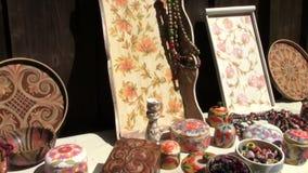 Romanian handmade art. Romanian traditional handmade art at popular art fair stock footage