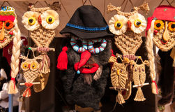Romanian handmade  traditional pagan masks souvenirs Royalty Free Stock Photos
