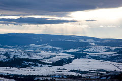 Romanian hills. In winter time Stock Images