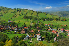 Romanian hillside and village Stock Image