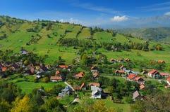 Romanian hillside and village stock image