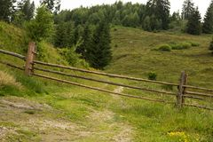Romanian hillside and village in summer time royalty free stock images