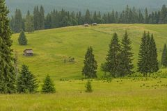 Romanian hillside and village in summer time stock photography