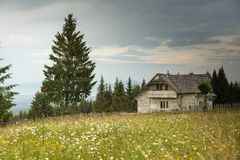 Romanian hillside and village in summer time royalty free stock photos