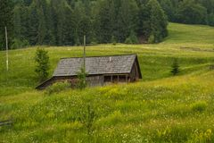 Romanian hillside and village in summer time royalty free stock photo
