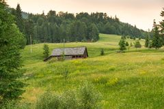 Romanian hillside and village in summer time royalty free stock image