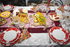 Romanian home made food. Romanian traditional food for Christmas on table Royalty Free Stock Photo