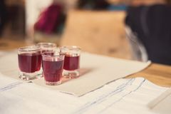 Romanian homemade blackberry liqueur Stock Images