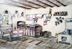 Romanian house interior sketch Royalty Free Stock Photos