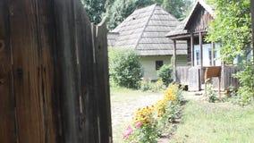 Romanian household doorway - wooden houses stock footage