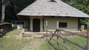 Romanian household - wooden house stock video footage