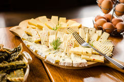 Romanian and hungarian cheese platter royalty free stock images