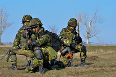 Romanian infantry in military polygon Stock Image