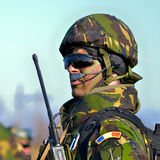 Romanian infantry in military polygon Royalty Free Stock Photo