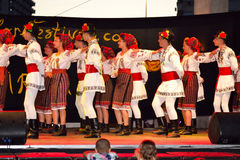 Romanian kids folklore group dancing Stock Photography