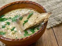 Romanian lamb soup stock photos