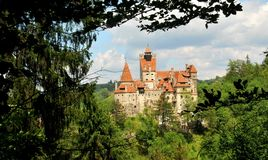 Romanian landmarks. Bran castle as seen from the mountains royalty free stock image