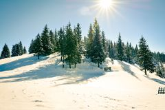 Winter landscapes in Romania. Romanian landscapes in the winter, Bicaz Chei area, Carpathian Mountains stock image