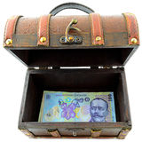 Romanian Lei. Treasure Chest With Romanian Lei Isolated Stock Photos
