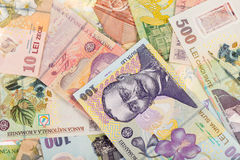 Romanian LEI Background. Lots of romanian money banknotes background Royalty Free Stock Photos