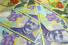 Romanian Lei Banknotes Stock Images