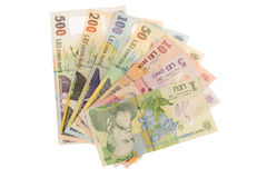 Romanian LEI banknotes. All romanian money banknotes isolated on white Royalty Free Stock Photos