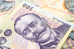 Romanian Lei Banknotes Stock Photography