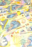 Romanian lei. Romanian currency (lei) banknotes background Royalty Free Stock Photography