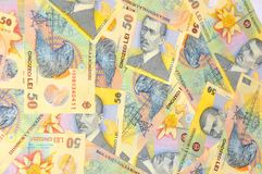 Romanian lei. Romanian currency (lei) banknotes background Royalty Free Stock Image