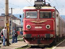 Romanian locomotive. Romanian train arriving in the station Royalty Free Stock Photography