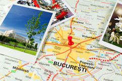 Romanian map - Bucharest. Map of Romania with pin on Bucharest, the capital of Romania Stock Photography