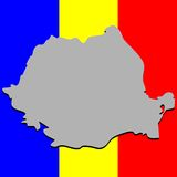 Romanian map over national colors Stock Image