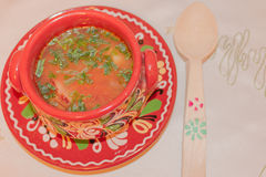 Romanian meat soup Royalty Free Stock Photography