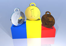 Romanian medals on a podium Royalty Free Stock Photo