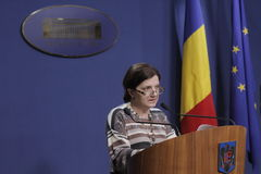 Romanian Minister of Justice Raluca Pruna press conference stock photo